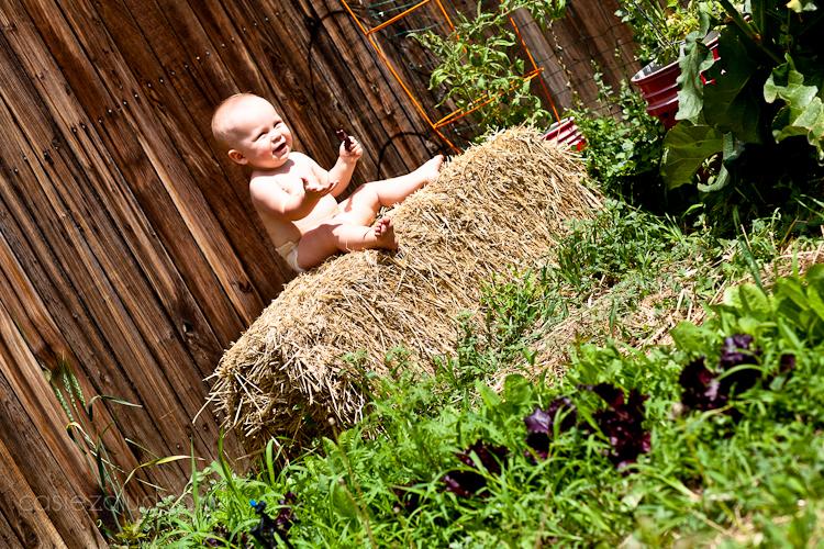 child in diaper on hail bail in the garden