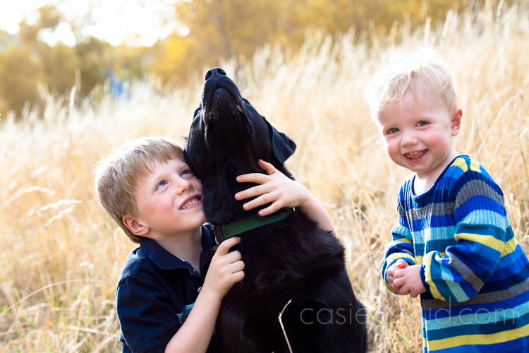 six year old boy hugging his dog next to his one year old sister