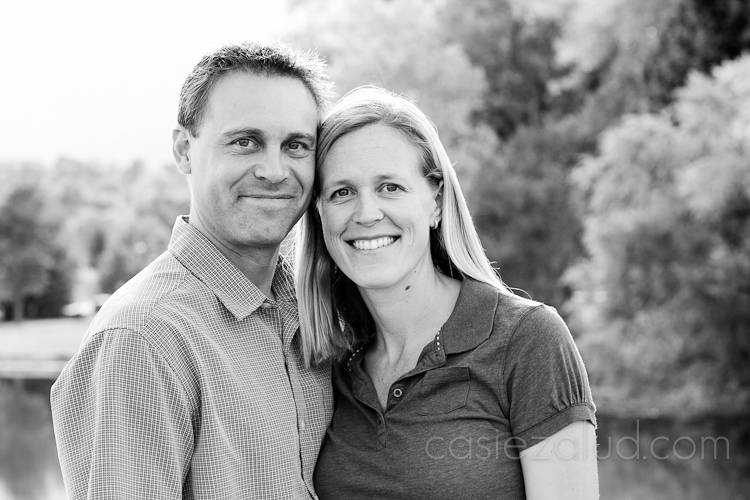 mom and dad headshots in black and white