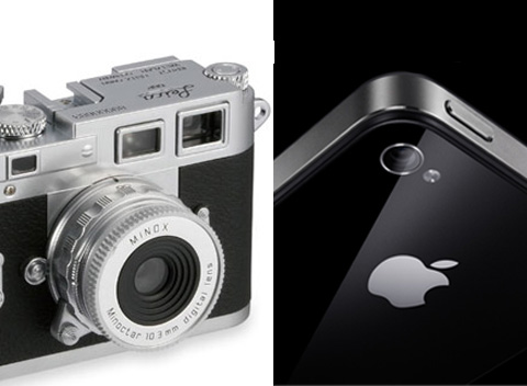 old leica camera next to the camera on the iPhone 4