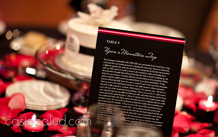 center pieces at a wedding of chessecake and a card that told the bride and groom's love story