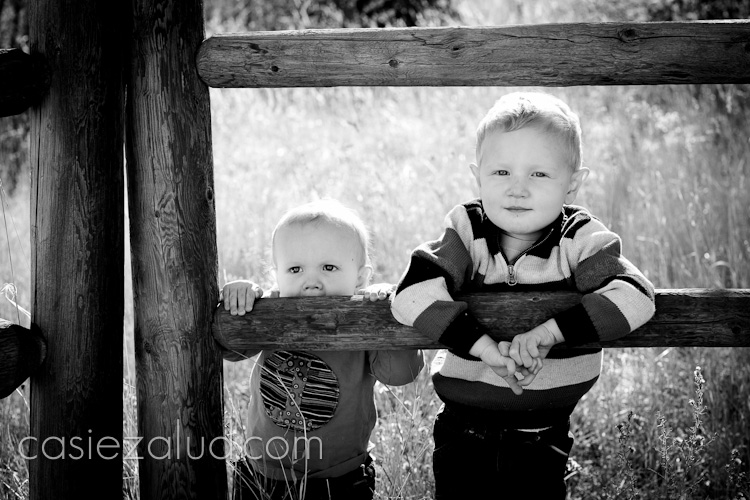 children portraits - a one year old and two and half year old boy hanging onto a fence in black and white