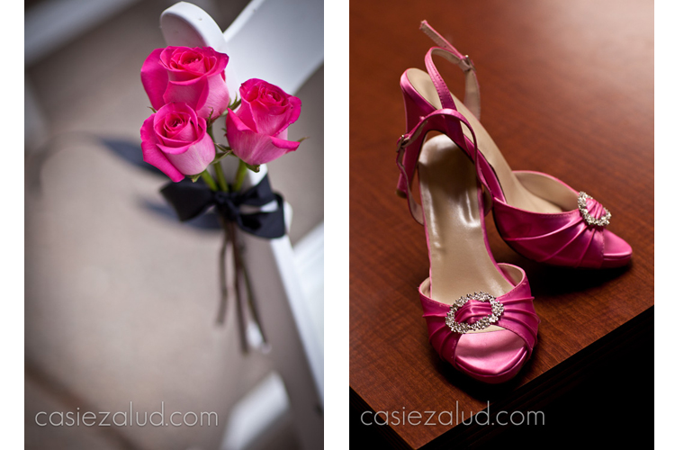 close up of wedding flowers and bride's shoes