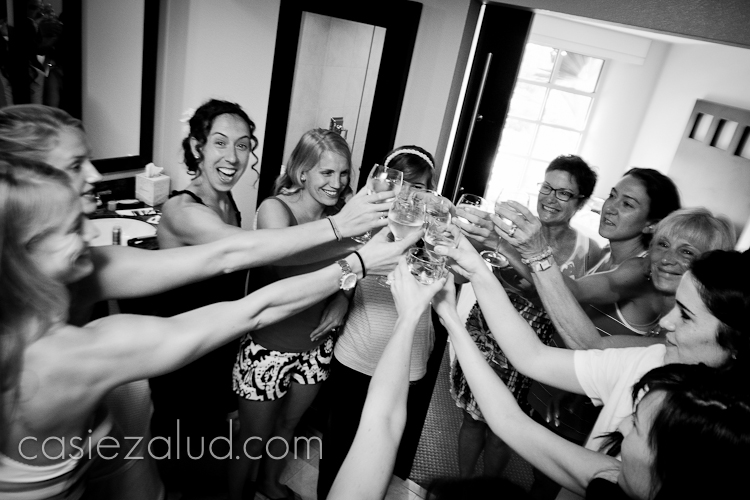 bride toasting with her girls