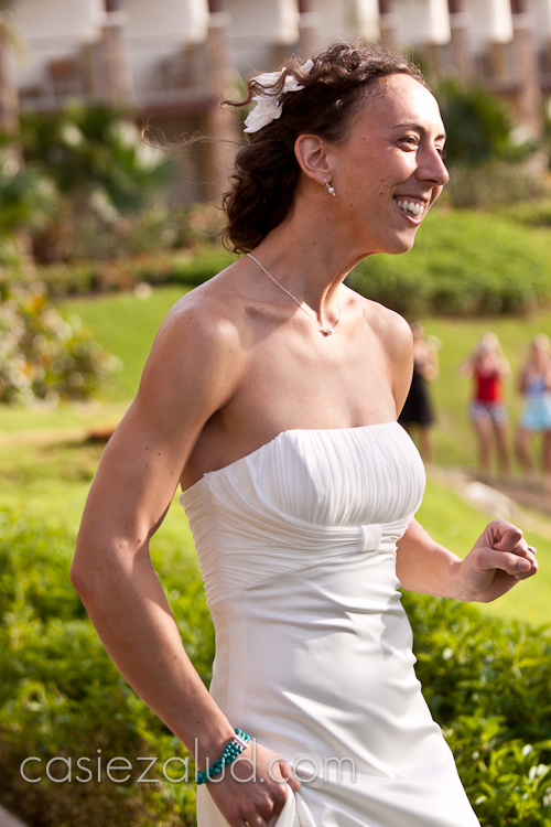 bride walking up to have her first meeting with her groom