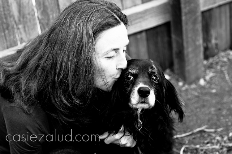 owner and her dog portrait