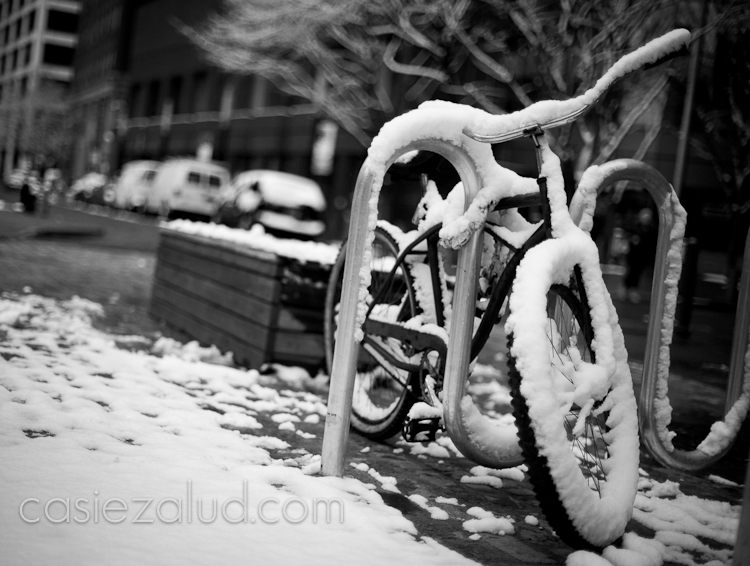 NYC bicycle after a snowfall