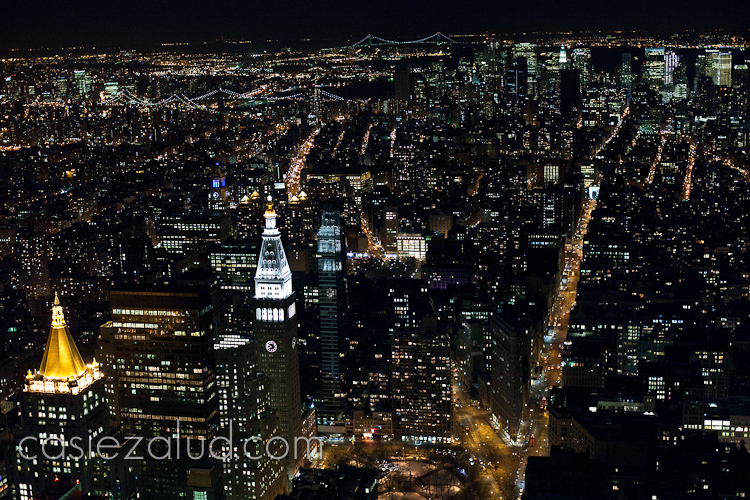 night city scape of NYC from the top of the Empire State building