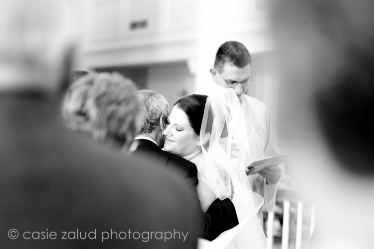 church wedding photography-bride hugging father at altar