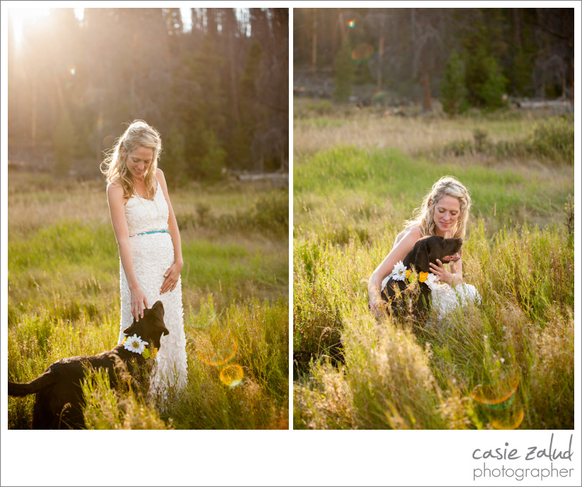 Grand Lake Outdoor Bride and Dog Portraits - Casie Zalud Photographer