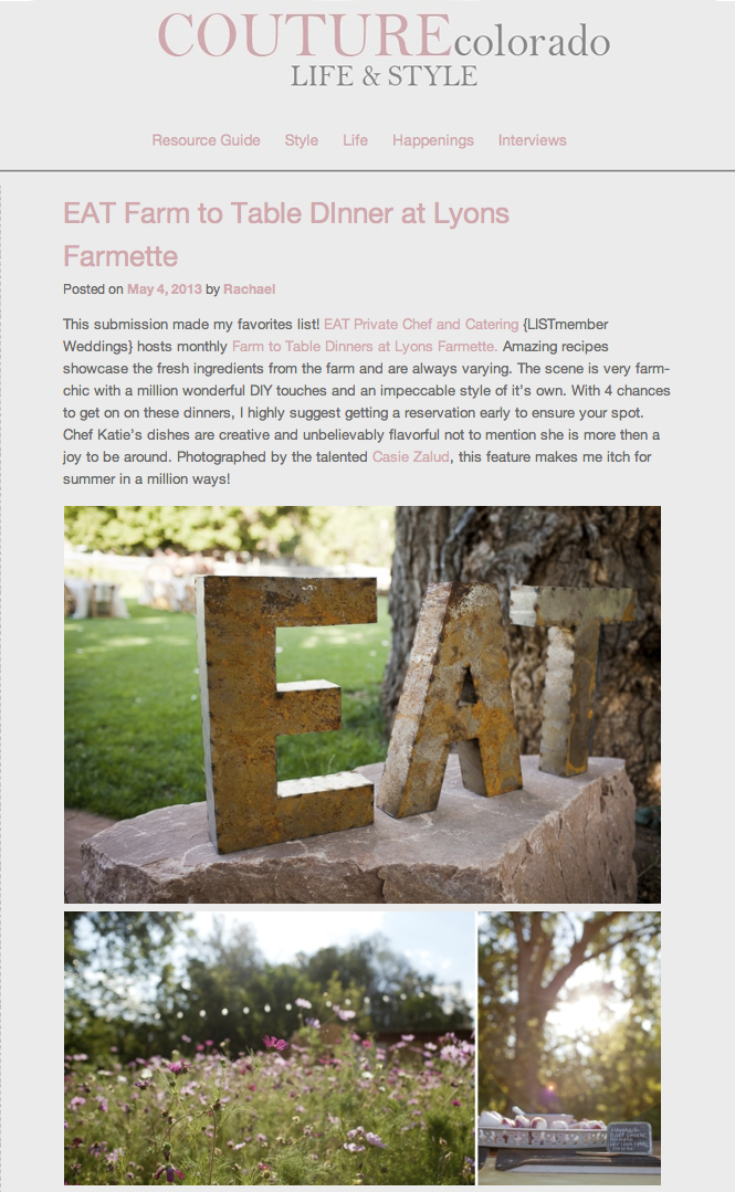 COUTUREColorado Life & Style - Alfresco farm dinner photographer - The Lyons Farmette