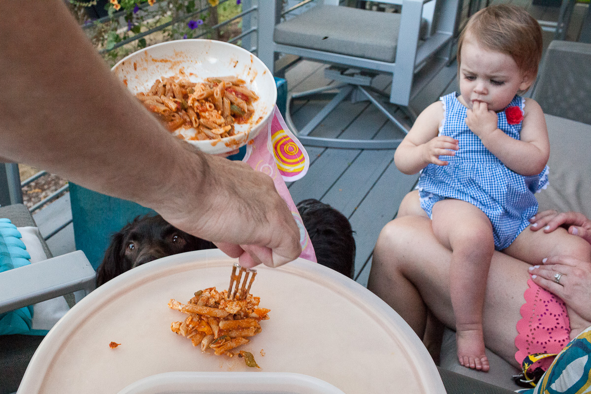 An adult holding a bowl of pasta and putting a spoonful onto a highchair try as the toddler and dogs watch from the side