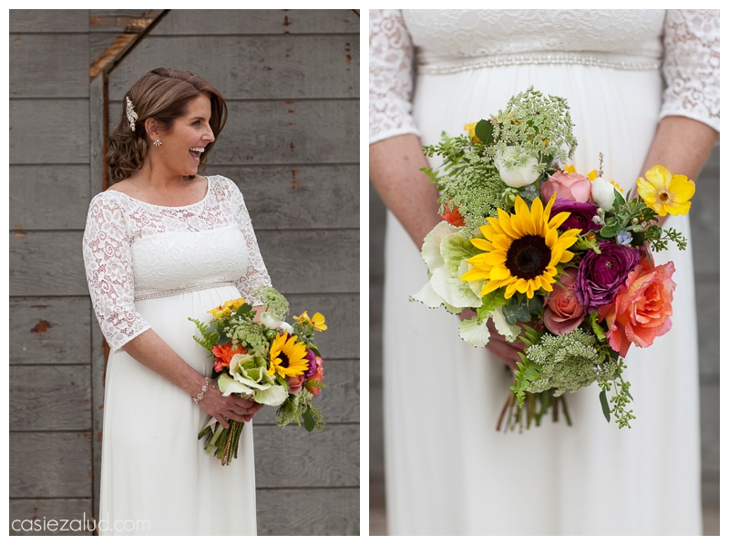 Bride holding her springy wildflower bouquet