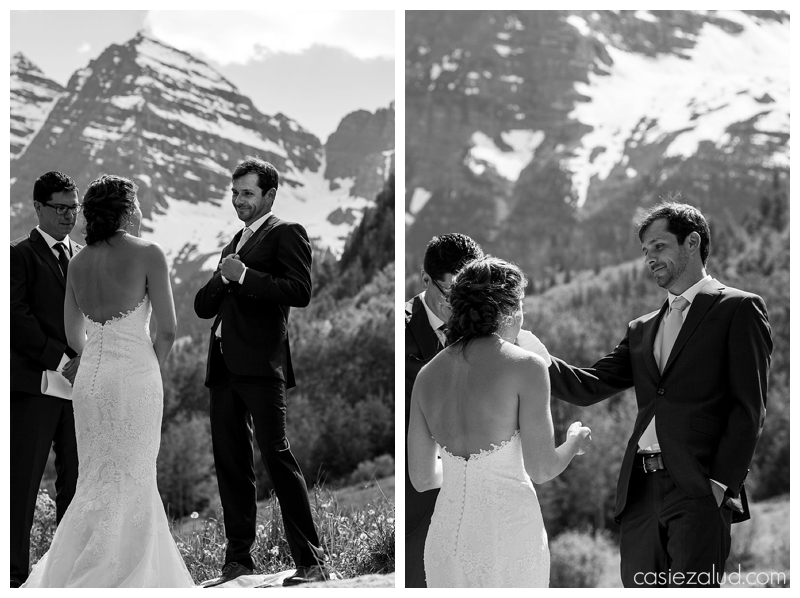close ups of bride and groom during their wedding ceremony at the Maroon Bells