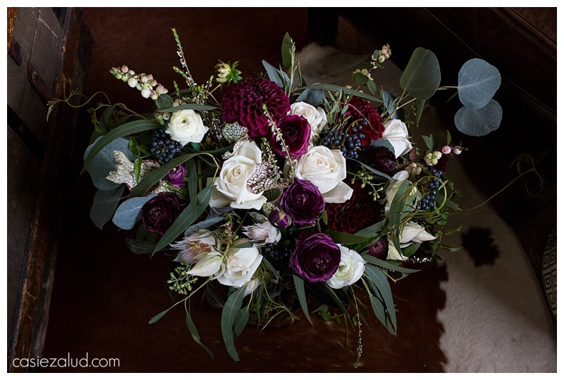 maroon, white and greenery wedding bouquet