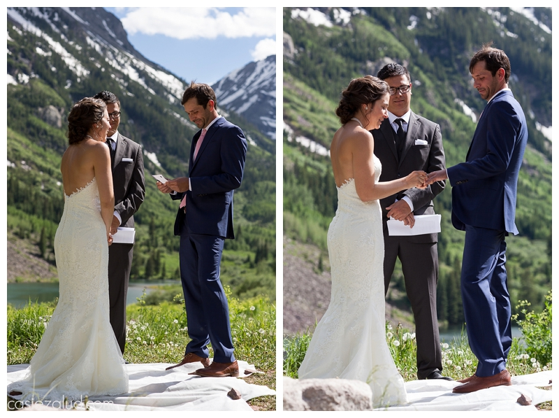 summer wedding ceremony at the Maroon Bells, close-up shots of the bride and groom