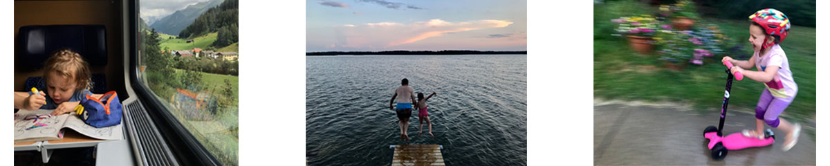 multiple images: girl coloring on train, girl and dad jumping into sea from dock