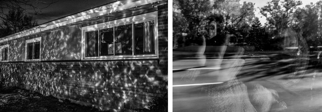 BW diptych of house with christmas lights on it and reflection of a girl in a window