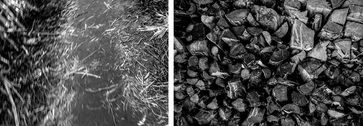 BW diptych of straw on the ground and firewood
