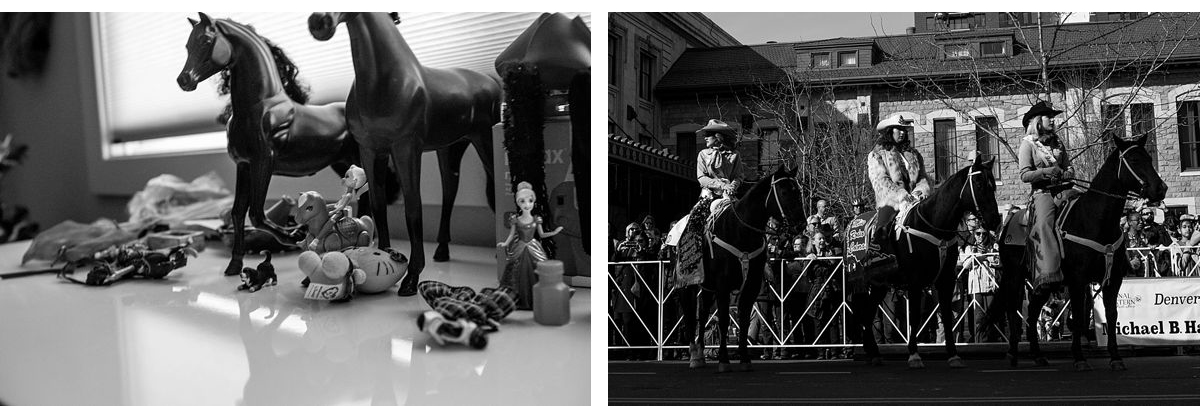BW diptych of horse figures and rodeo queens on horses