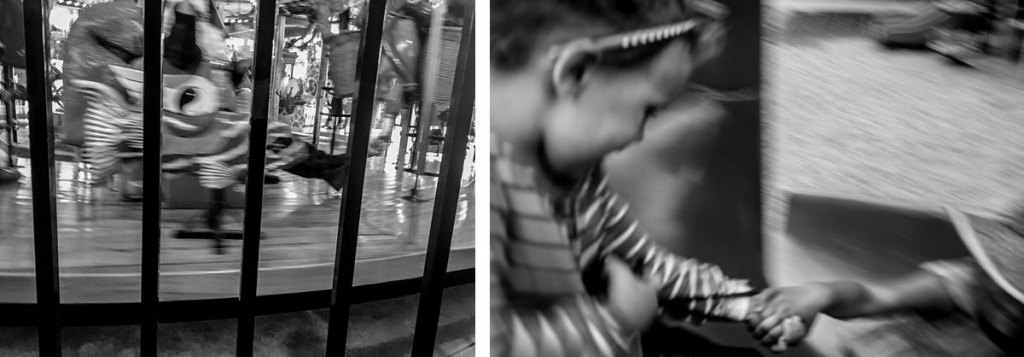 BW diptych of a carousel and girls going down a slide