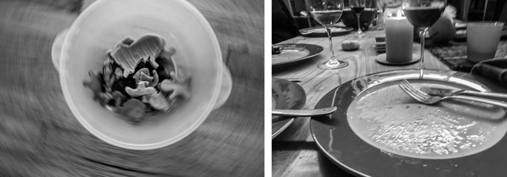BW diptych of bowl of cut out play dough and dinner plate