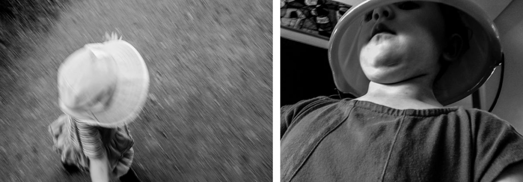 BW diptych of a girl spinning and a girl with a bucket on her head