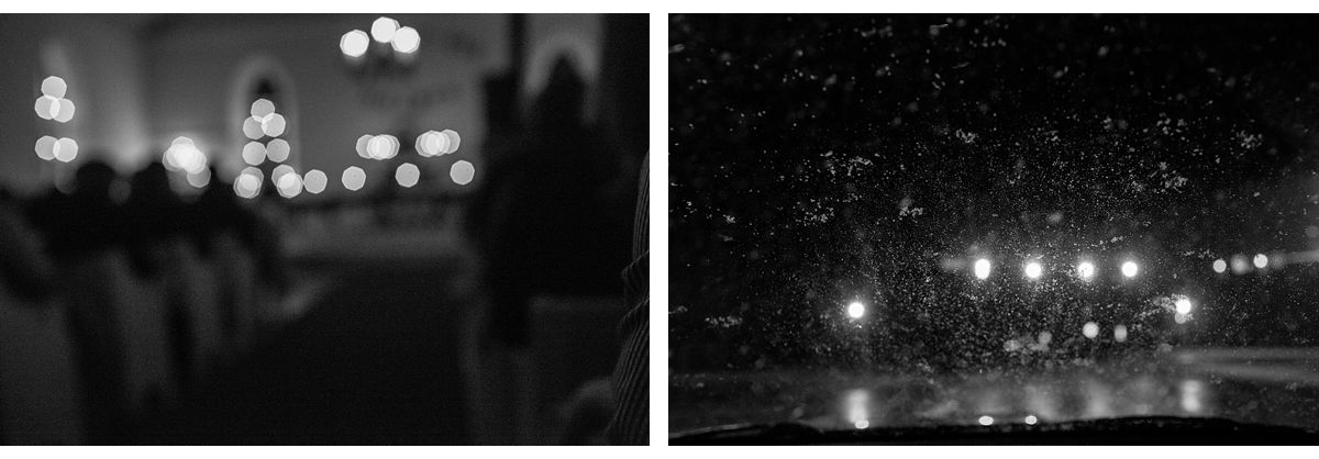 BW diptych of lights in a church and car lights on the road