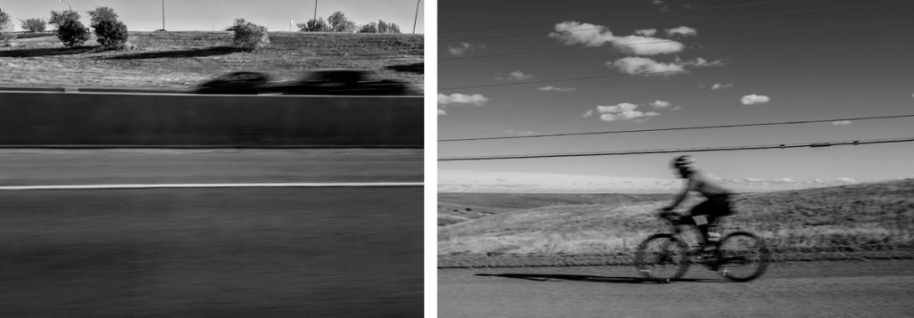 BW diptych of highway and a bike rider