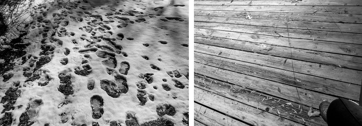 BW diptych of foot prints in the snow and a worn deck and knee