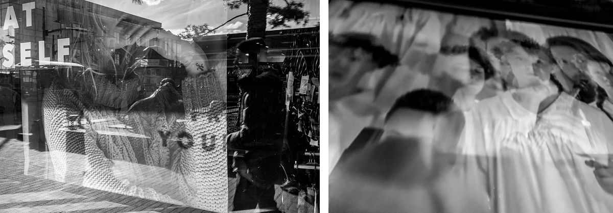 BW diptych of reflection in window and TV changing frame