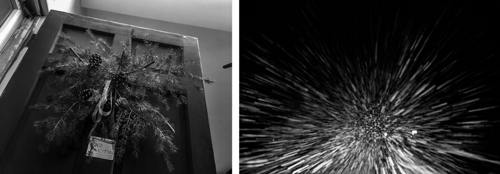BW diptych of door and snow blowing into a windshield