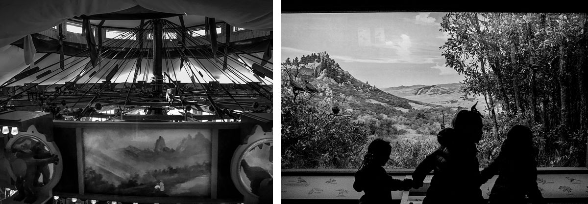 BW diptych of carousel top and girls running at a museum