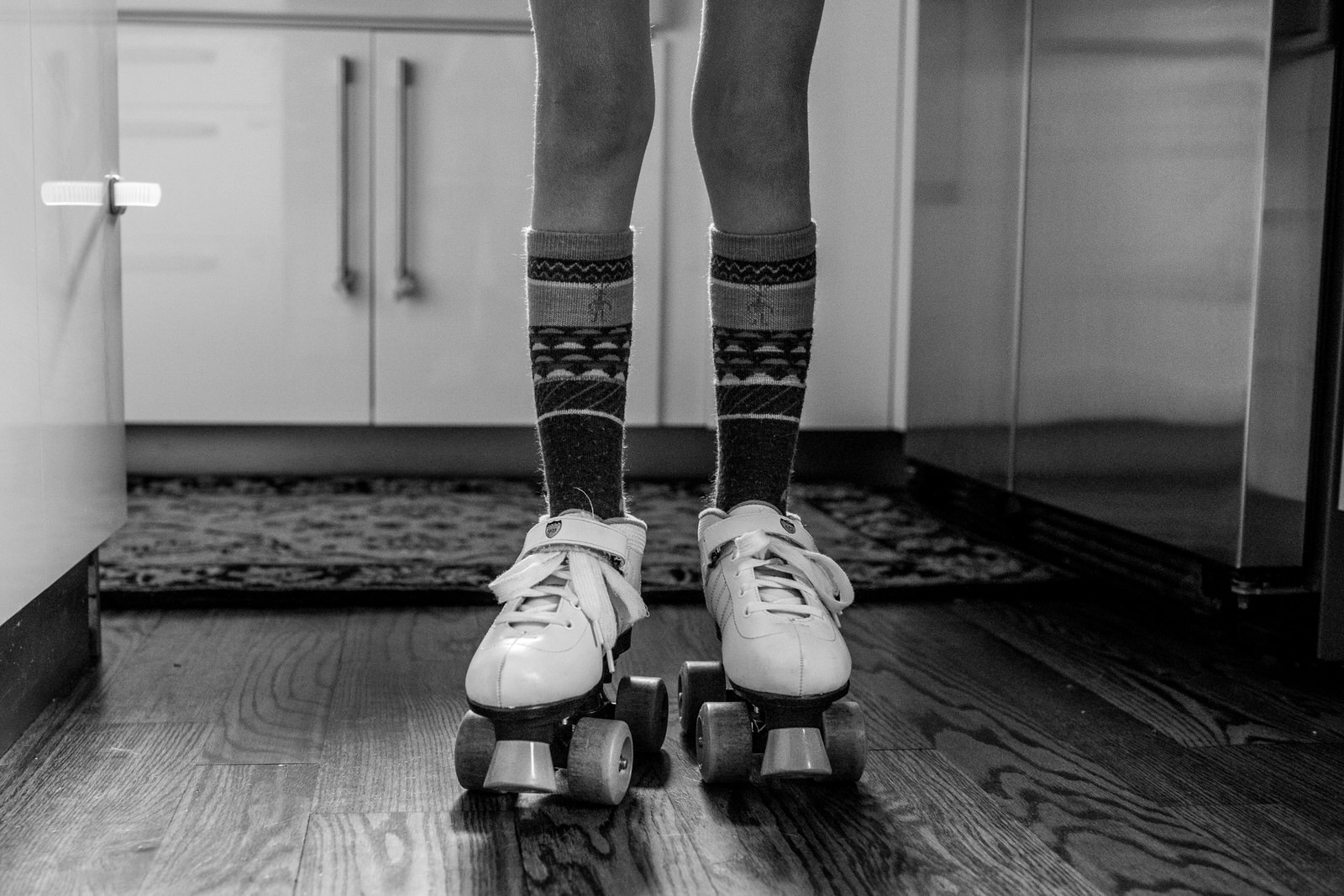 knobby knees and old fashioned roller-skates