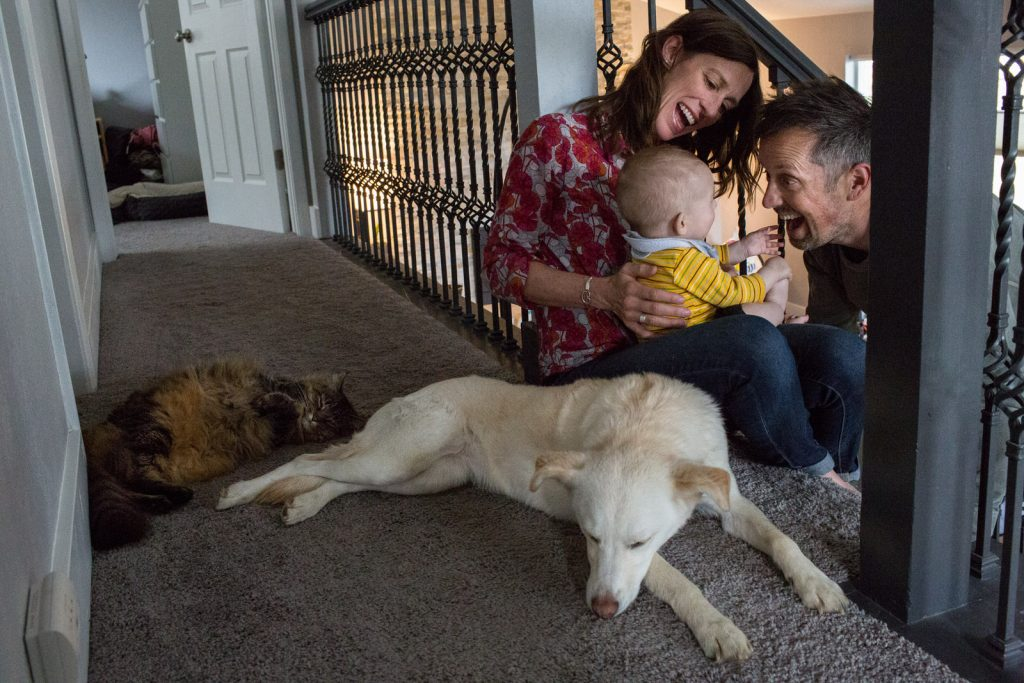 dog not paying attention to mom and dad smiling with baby at top of stairs
