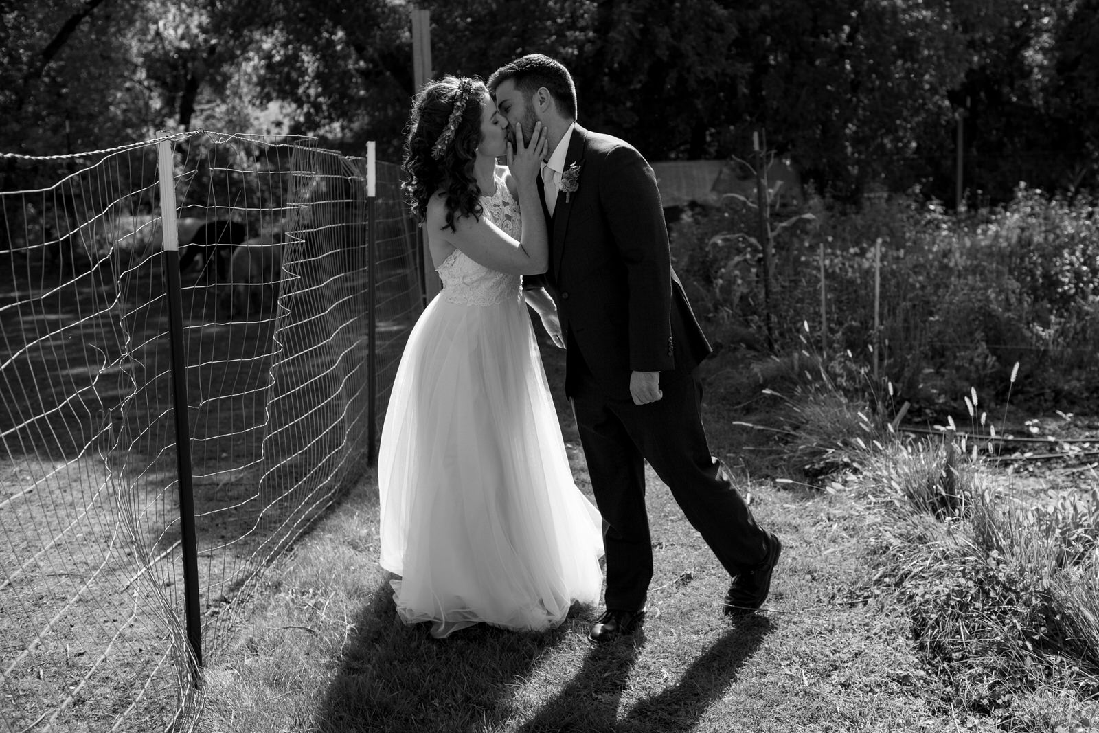 a couple in black and while passionately kissing in the garden next to a fence