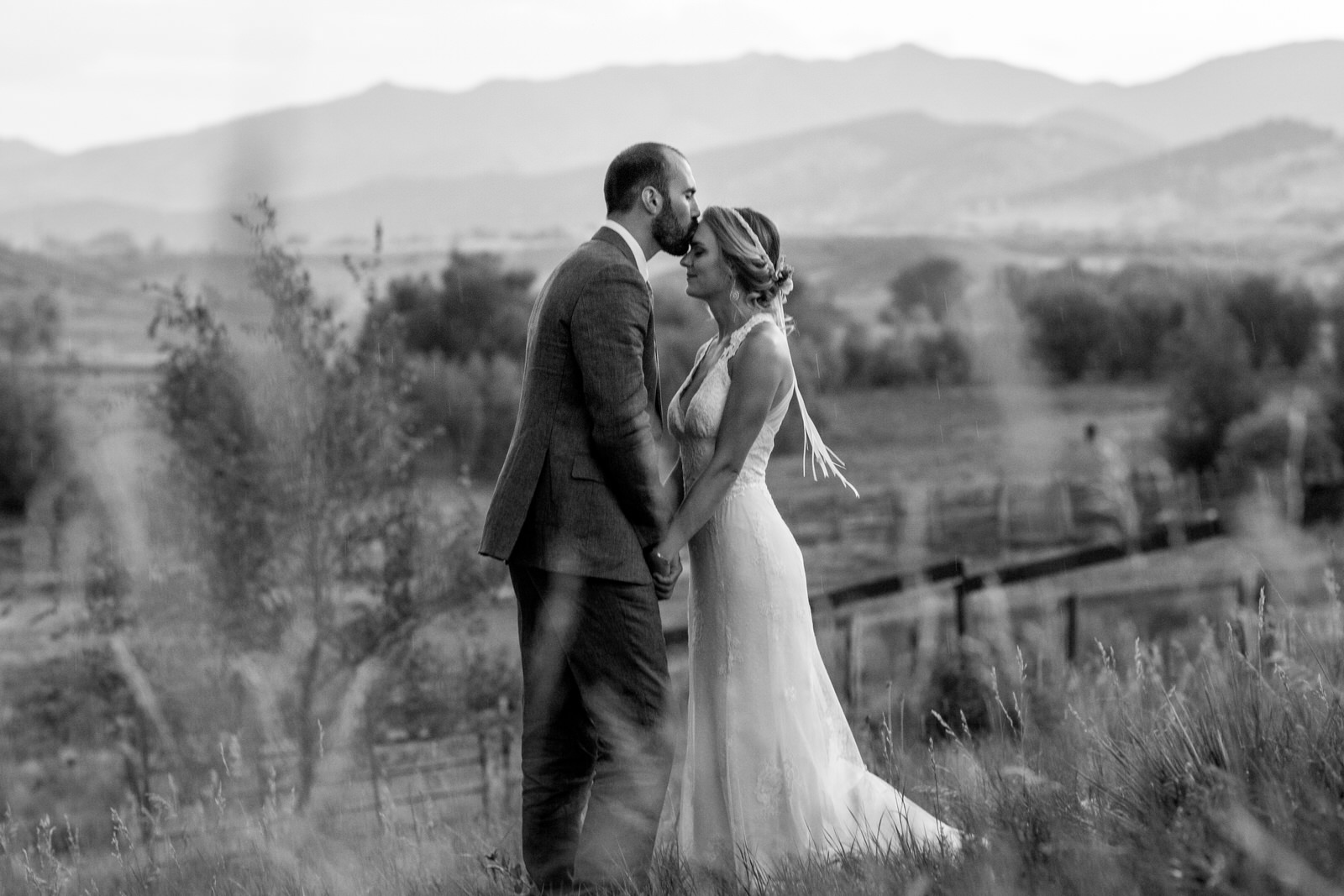 black and white of a groom kissing the forehead of his bride at lone hawk farm as they stand in a field and the mountains are behind them and the bride takes it all in